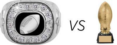 Comparison of fantasy football championship ring to a trophy