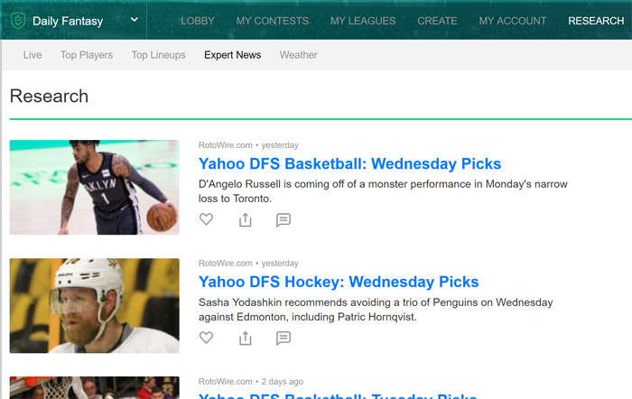 Yahoo DFS Research