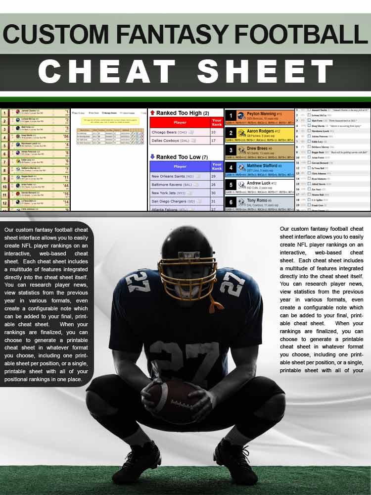 image regarding Free Printable Fantasy Football Cheat Sheets named Tailor made Myth Soccer Ratings - Establish a Drag Shed